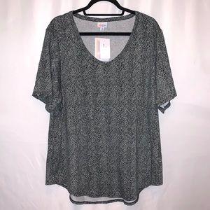 LuLaRoe Black/Gray Iris Short Sleeve Top Size XL